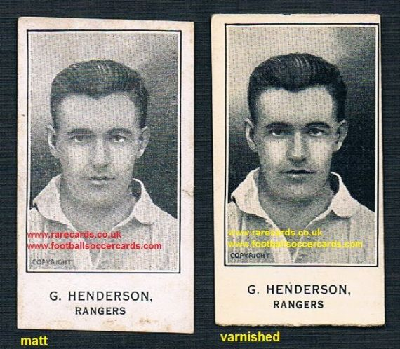 1924 G. Henderson Rangers pair of cards matt and VARNISHED Barratt Sherbet Novelties card